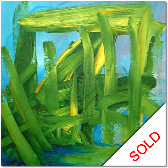 Photo of Blue and Green - abstract painting for sale