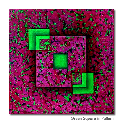 Green Square in Pattern - Original painting for sale