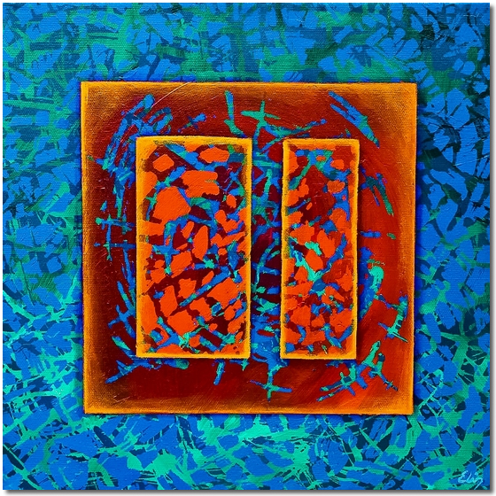 Photo of Forms in Blue Pattern - abstract painting for sale