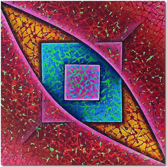 Photo of Squares in Blue and Pink- abstract painting for sale